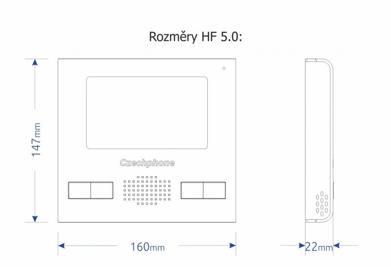 Domovní handsfree videotelefon NICE HF 5.0. - systém MELODY - rozměry