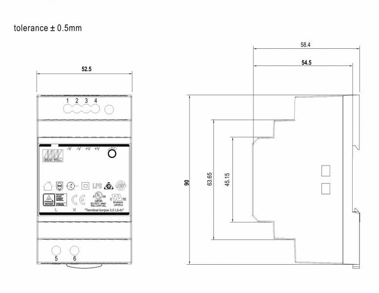Spínaný síťový zdroj NM 60-15, 15V/4A, DC, el. pojistka, DIN3M