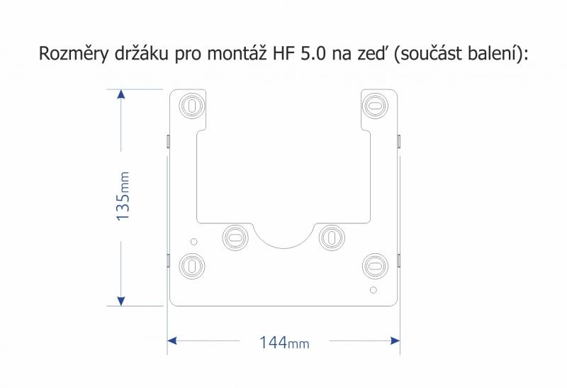 Domovní handsfree videotelefon NICE HF 5.0. - systém MELODY - rozměry držáku